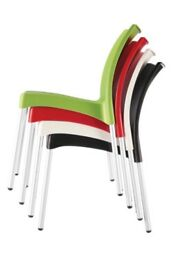 New Stackable Kitchen Chair in Black Green or Red