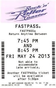 Rock 'n' Roller Coaster Disney's Hollywood Studios Fastpass Ticket