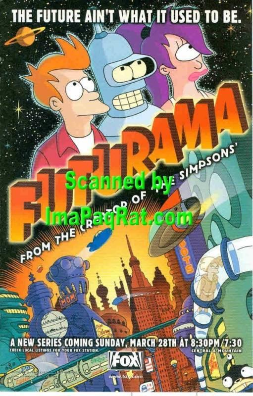 Futurama: Fry, Bender & Leela: A Great 1999- Print Ad