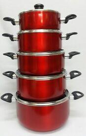 5PC RED METALLIC NON STICK PAN SET