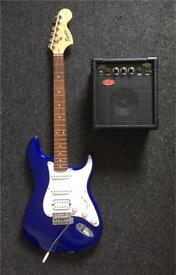 Squier Fender Stratocaster Affinity Strat Electric Guitar RARE Blue Colour + Case + Stagg Amp BUNDLE