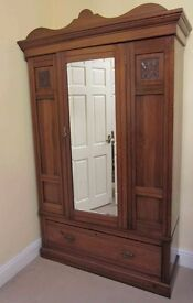 Victorian (1880) Walnut Wardrobe with mirror. Great condition