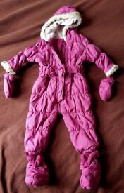 Baby girl snowsuit, winter coat with detachable boots and mittens size 12-18 months