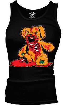 Zombie Teddy Bear- Halloween Scary Bloody Gory  Boy Beater Tank - Scary Teddy Bear Halloween