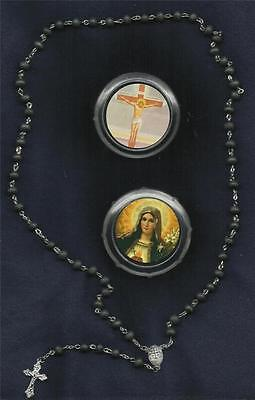 RELIGIOUS MARY MOTHER OF JESUS PLASTIC BOX w/Lightly Scents Catholic Wood ROSARY - Mary Mother Of Jesus Costume