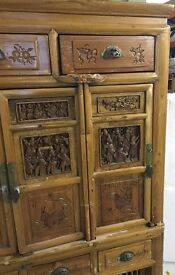 Antique Chinese Cabinet in light elm wood