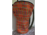 Large 14.5 Inch Head Djembe Drum Bag Orange Kente Style African Fabric Padded Backpack Style New