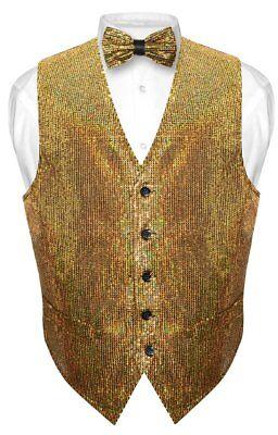 Gold Vest (Men's SEQUIN Design Dress Vest Bow Tie GOLD Color BOWTie)