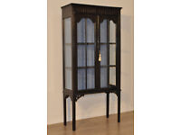 Attractive Small Tall Vintage Mahogany Two Glazed Door Display Cabinet