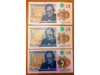 5 Pounds Notes, L, AA02, AA05, AA52