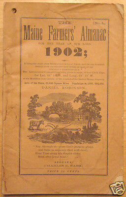 Original 1902 Maine Farmers Almanac No  84