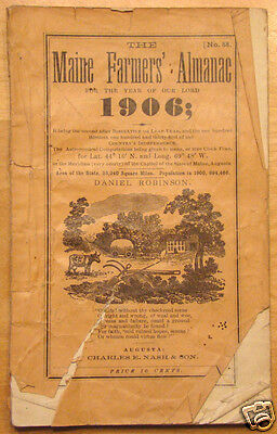 Original 1906 Maine Farmers Almanac No  88