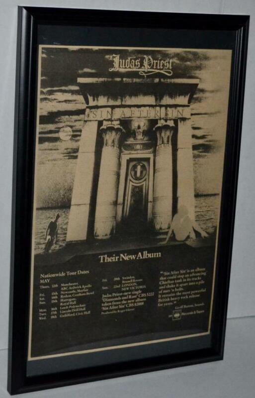 JUDAS PRIEST 1977 TOUR DATES AND NEW ALBUM FRAMED PROMOTIONAL POSTER / AD