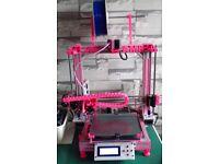 2 X AM8 3D PRINTERS, BUILT FROM ANET A8s, ALUMINIUM FRAMES. 1 X WHITE & 1 X PINK.