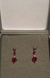 9 ct gold ruby & diamond drop ear rings