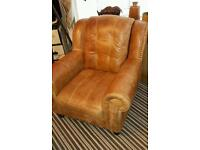 Stunning real leather chair very soft and comfortable condition brass studding bargain