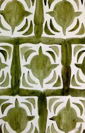 Original NTran Art Snow Crystal Inspired 2 Acrylic Paint on Paper 2005 Artist
