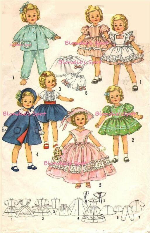 """Vintage Doll Clothes Pattern 3217 for 17"""" Shirley Temple Judy Garland by Ideal"""