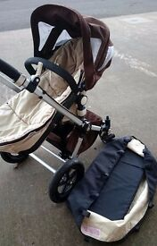 Bugaboo Cameleon in Beige & Brown with Carrycot & Pushchair