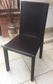 6 x John Lewis Dining Chairs Brown Leather
