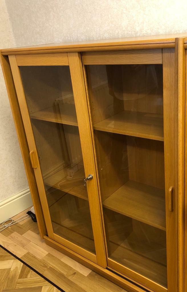 Oak Veneer Cabinet with Sliding Glass Doors and Adjustable ...