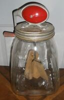 Large Antique Glass Butter Churn with Wooden Paddles