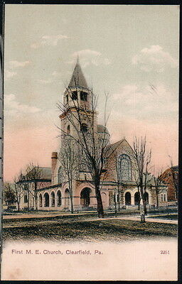 Clearfield Pa First Me Methodist Episcopal Church Antique Town View Postcard Vtg