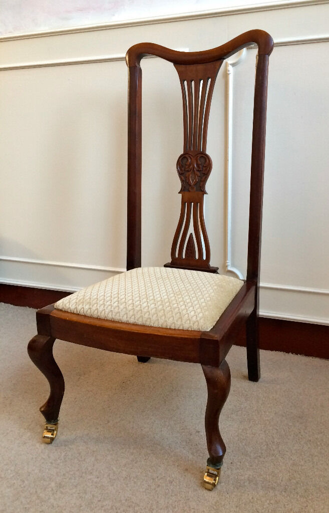 Antique Hand Carved Mahogany Victorian Nursing Bedroom Occasional Chair Brass
