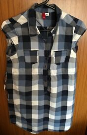 H&M Blue Checked Ladies Top Size 8