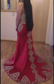 Red and Gold Silk Dress Size 12