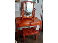 Quality Ducal Rosedale antique pine dressing table, mirror and stool., all 3 £80