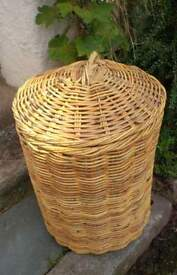Very large log basket with lid. Excellent condition.
