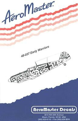 1:48 Early Warriors Me BF 109 Aircraft AeroMaster Model Decals Sheet NOS 48-037