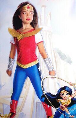 Girls WONDER WOMAN Halloween Costume Glitter Headband Gauntlets Medium 8 10 NEW](Wonder Woman Girl Halloween Costume)
