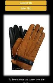 Mens brown deerskin gloves, large