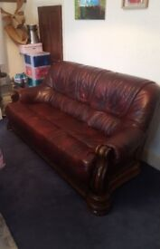 Red/burgundy Leather sofa settee with wooden frame 3 seater