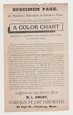 W.L. Emory Ca. 1890's A Color Chart Specimen Page / National Philatelic Soc.