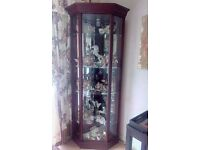 Mahogany glass corner display cabinet in excellent condition.