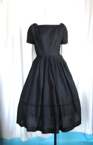 Vintage 50s Full Skirt Black Cocktail Party Day Dress S  L'Aiglon 38B 27W   D63