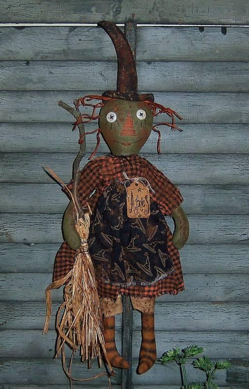 Primitive Witch Ann Halloween Annie Doll Paper Pattern #602