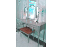 Dressing table and stool.. Silver.