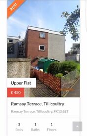 3 bedroomed flat in Tillicoultry