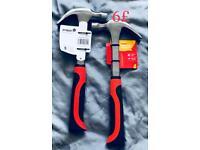Tools hammer JCB padlocks draper metric deep socket primer bypass fencing pliers keys