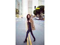 All Saints Iris Lorie Camel Wool Coat Leather Collar Celebs Towie Size14 RRP£298
