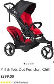 Phil & Ted Dot Pushchair Double Pram