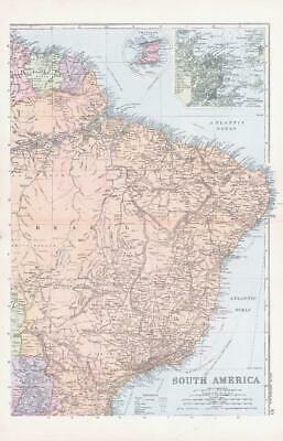 1893 Large Antique Map SOUTH AMERICA ENVIRONS OF RIO DE JANEIRO Brazil  (BPA45)