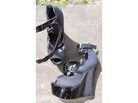 DESIGNER Carvela patent leather black Platform wedge Heel Shoes Sandals size 4