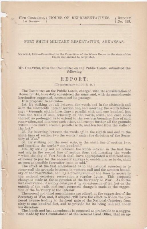 House of Representatives: Fort Smith Military Reservation, Arkansas - Mar 4 1882