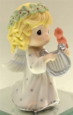 Precious Moments CHRISTMAS ANGEL w/ HARP & CARDINAL 131026 NIB