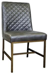 Black or Grey Leather Dining Chair with Dimond Tufted Back and Brass Gold Legs by ARTeFAC